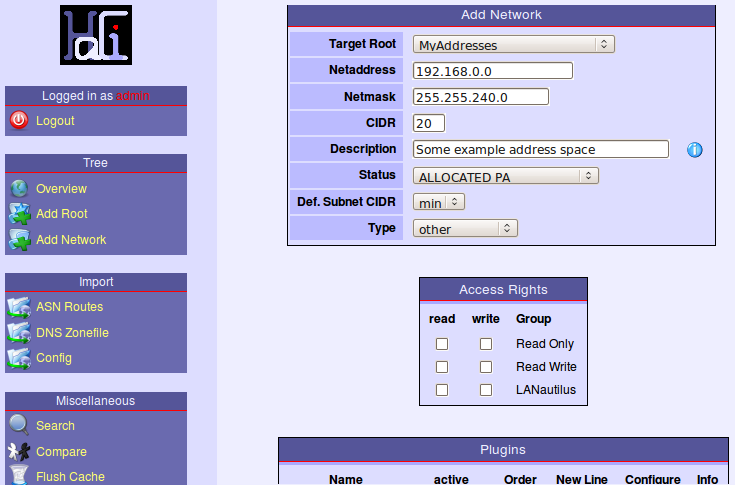 Screenshot of Add Network page (top part)